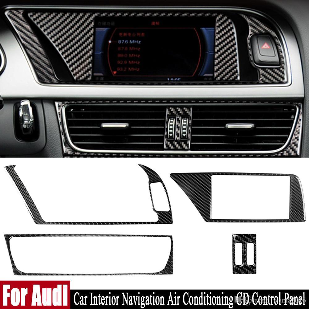 Réelle en fibre de carbone pour Audi A4 A5 B8 Q5 voiture Intérieur de navigation Climatisation Panneau de configuration CD LHD RHD Sticker Accessoires