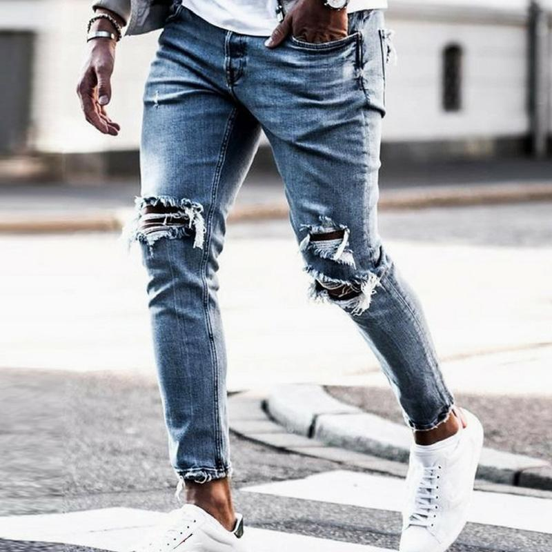 Neue dünne Jeans Männer Street Zerstört Zerrissene Jeans Homme Hip Hop Gebrochene modis männlichen Bleistift Biker-Stickerei-Flecken-Hosen