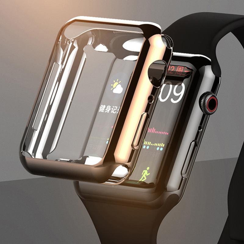 De lujo 360 Slim Revestimiento del reloj de la cubierta para Apple Seguir este caso 5 4 3 2 1 42MM 38MM claro de la pantalla TPU cubierta del protector