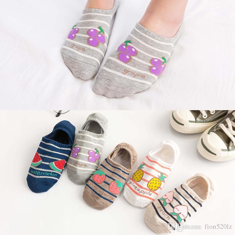 Venta al por mayor 10 pares de mujeres calcetines del tobillo divertido lindo de la historieta frutas damas niñas calcetines cortos ocasionales de verano niñas femeninas calcetines del barco calcetín