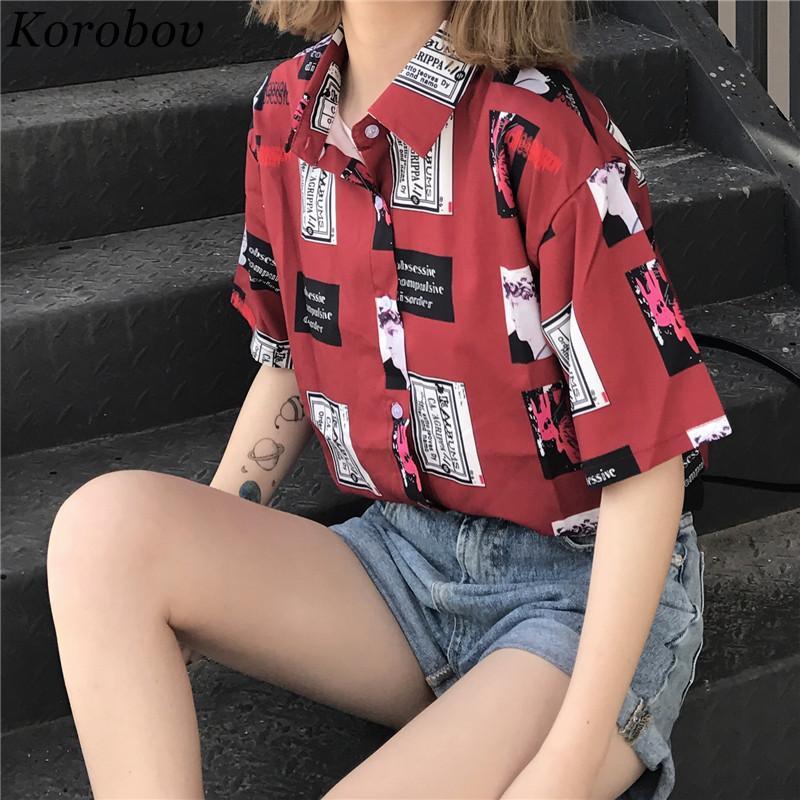 2018 neue koreanische taste karikaturdruck frauen bluse mode sommer shirts kurzarm lose beiläufige vintage weibliche blusas 75467