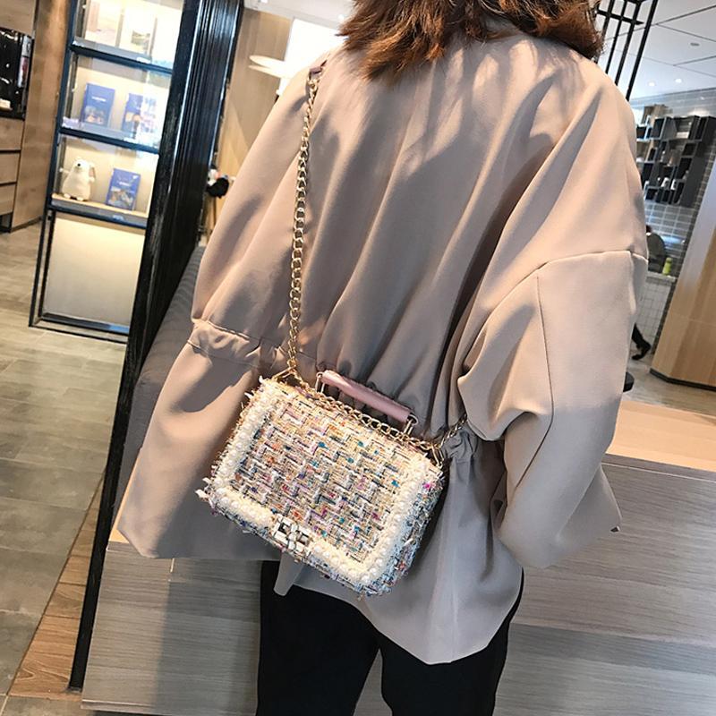 pérolas moda feminina lã sacos de ombro do desenhador bolsas cadeias de luxo senhoras bolsas de inverno saco crossbody pequena aba 2020