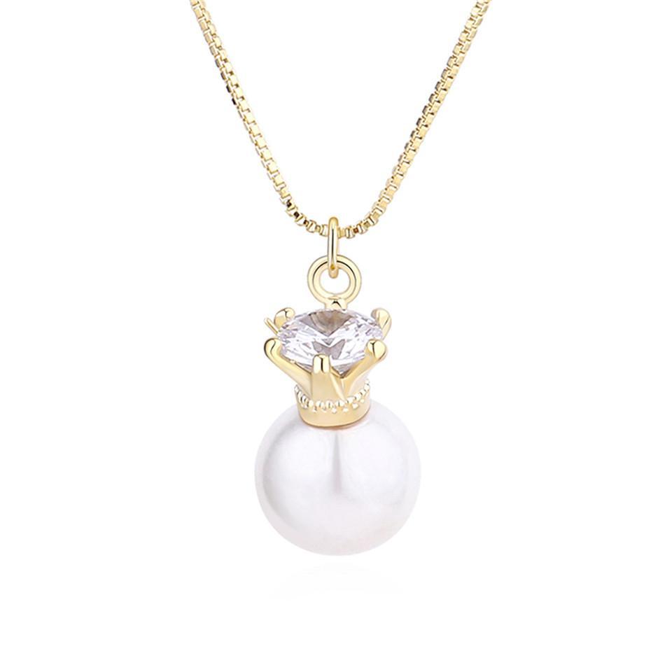 Joyería CZ de la manera colgante de cristal collar de la mujer regalos de imitación de perlas de óxido de zirconio Imperial Accesorios Corona Corea moda 31858