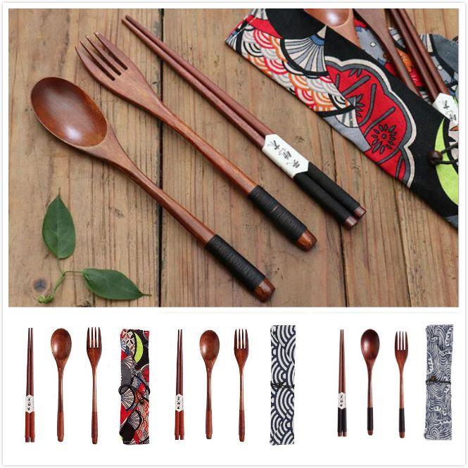 Bolsa de almacenamiento portátil vajilla vajilla conjunto de madera de madera Cuchara Tenedor Palillos Cubiertos Cubiertos estilo japonés para viajar