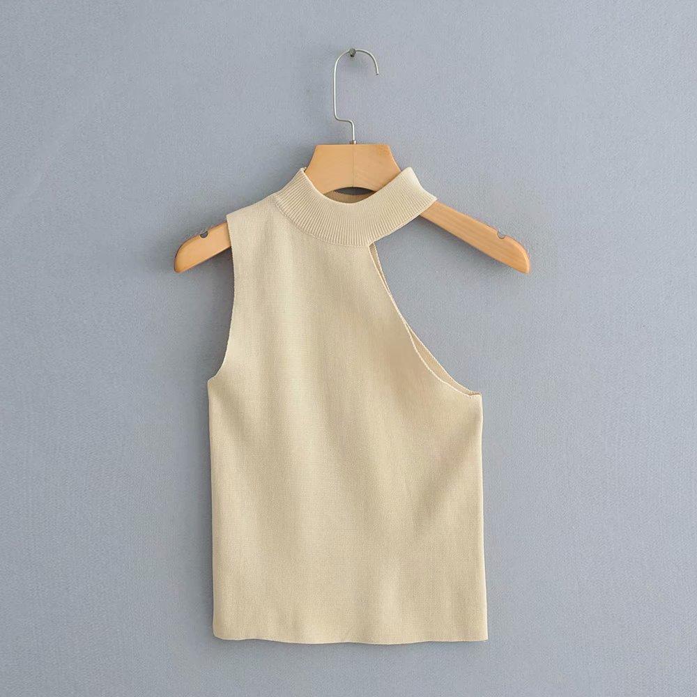 Новая мода Женщины Сплошной Цвет Холтер Повседневная Нерегулярная Вязание Футболка Женщины Chic Основная Короткая Футболка Одежда LS3750