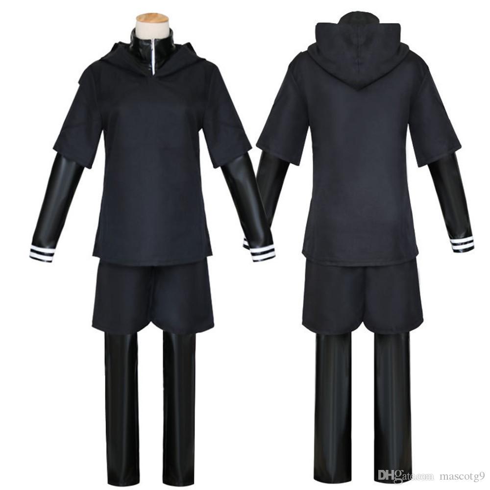 Anime japonés Tokyo Ghoul Cosplay disfraces Kaneki Ken Cosplay Disfraces Sudaderas con capucha Negro Lucha Uniforme conjunto completo con máscara