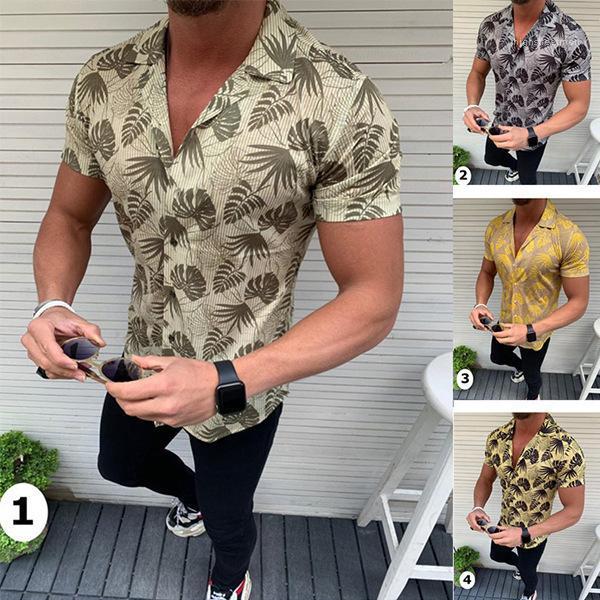 Cou Chemises Mode Hommes Chemises Feuilles Imprimé Designer Chemises Hommes D'Été Casual Plage Lâche Manches Courtes Revers