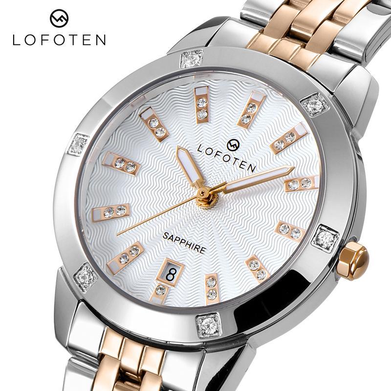 Fashion Brand Luxury Ladies Acciaio Inox Gold Gold Gold Diamonds Diamonds Womens Womens Watches Watches Abito orologio da polso