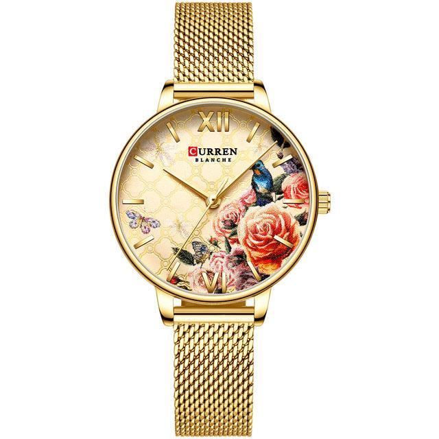 Reloj de cuarzo flor encantadora Diseño Relojes de las mujeres ocasionales de la manera de acero inoxidable de oro reloj de las señoras del reloj del reloj de la Mujer Mujer