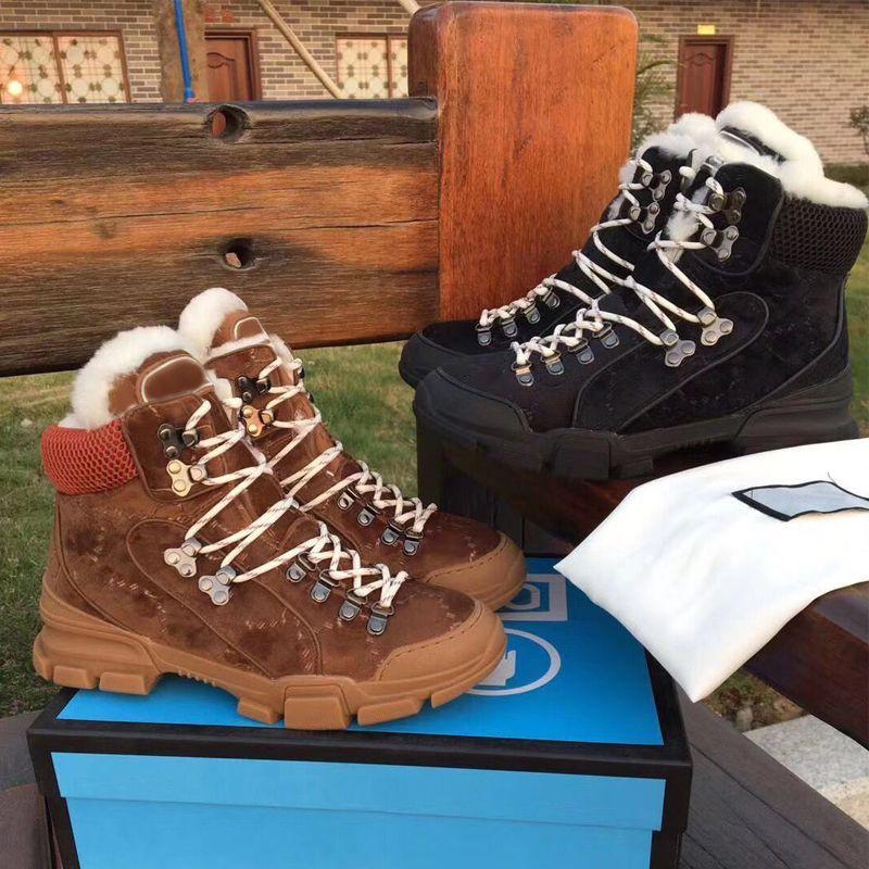 {Logo original} bottes Martin 100% des hommes de luxe en cuir femmes chaussures de sport d'hiver Automne Fashion Designer neige laine chaude bottes courtes de grande taille