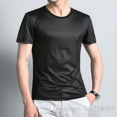 2019 summer men's ice silk short-sleeved t-shirt round neck thin section mercerized cotton printed t-shirt solid color bottoming shirt