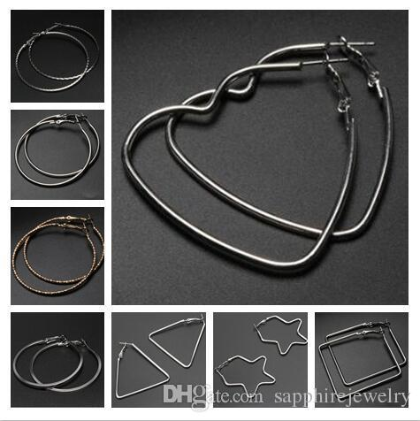 mix 8 Styles Diameter 50mm Exaggeration Big Earrings Geometric triangle circular squarer Ear hoop earrings fashion gifts