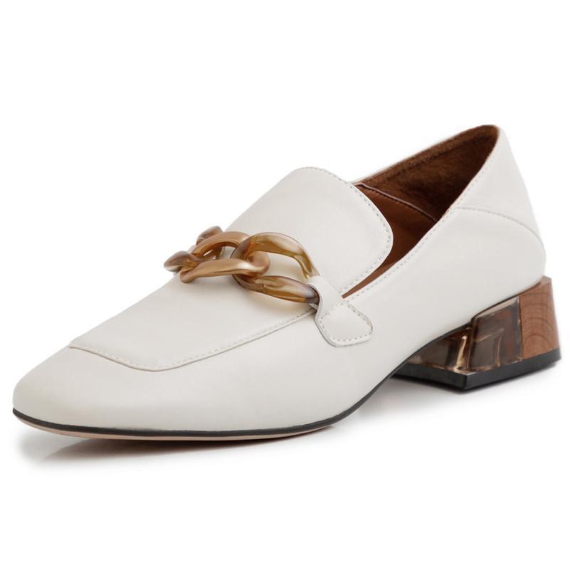 Los tacones altos de las mujeres bombea natural grueso de cuero genuino de los holgazanes de los zapatos del talón de cuero reales de la plaza del dedo del pie zapatos de las señoras Tamaño 33-40