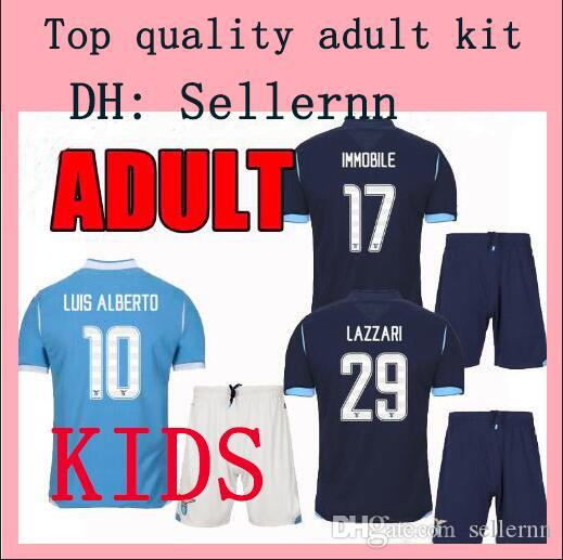 adulto criança kit 19 20 Lazio futebol Jersey CASA FORA 2019 2020 maglie da calcio JONY IMMOBILE LUIS ALBERTO BASTOS SERGEJ homem set FUTEBOL CAMISA