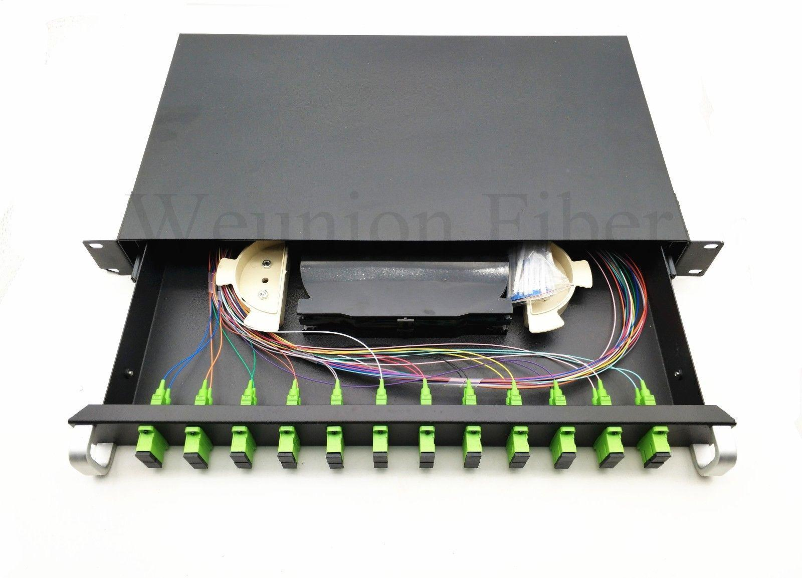 24 Ports Fiber Patch Panel 19 inch Rack Mount Patch Panel with Adapters Pigtail