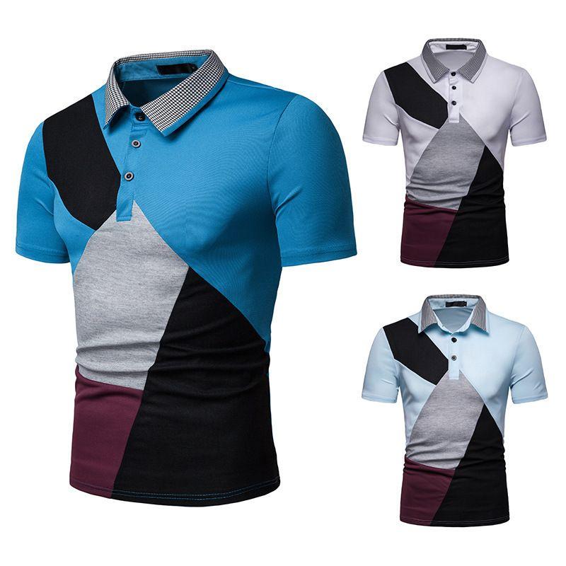 Männer-T-Shirts 2020 Sommer-neue Art Männer Ouma kleinkariert Mischfarben Kurzarm T-Shirt D02