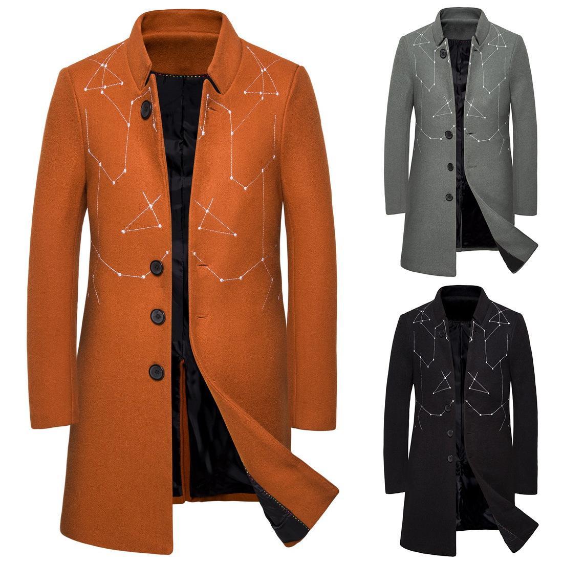 Neue Herbst Winter Woll Trenchcoat Männer Bestickt Einfarbig männer Mittellange Trenchcoat Casual Wollmantel Für Männer J1907126