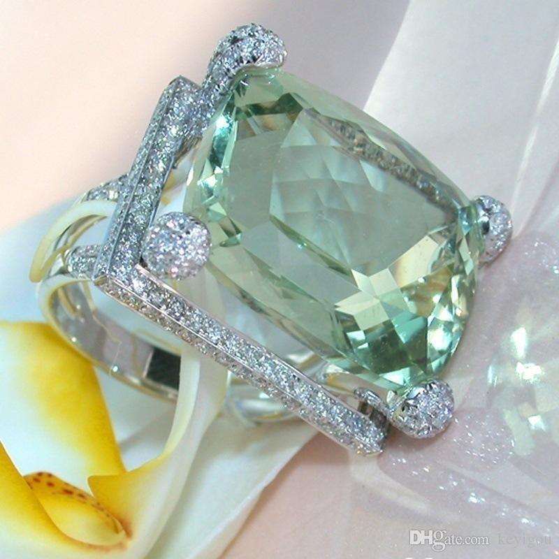 2019 Nouveau Femmes Lady élégant Big strass cristal vert bague de fiançailles creux de mariage Anneaux Bijoux