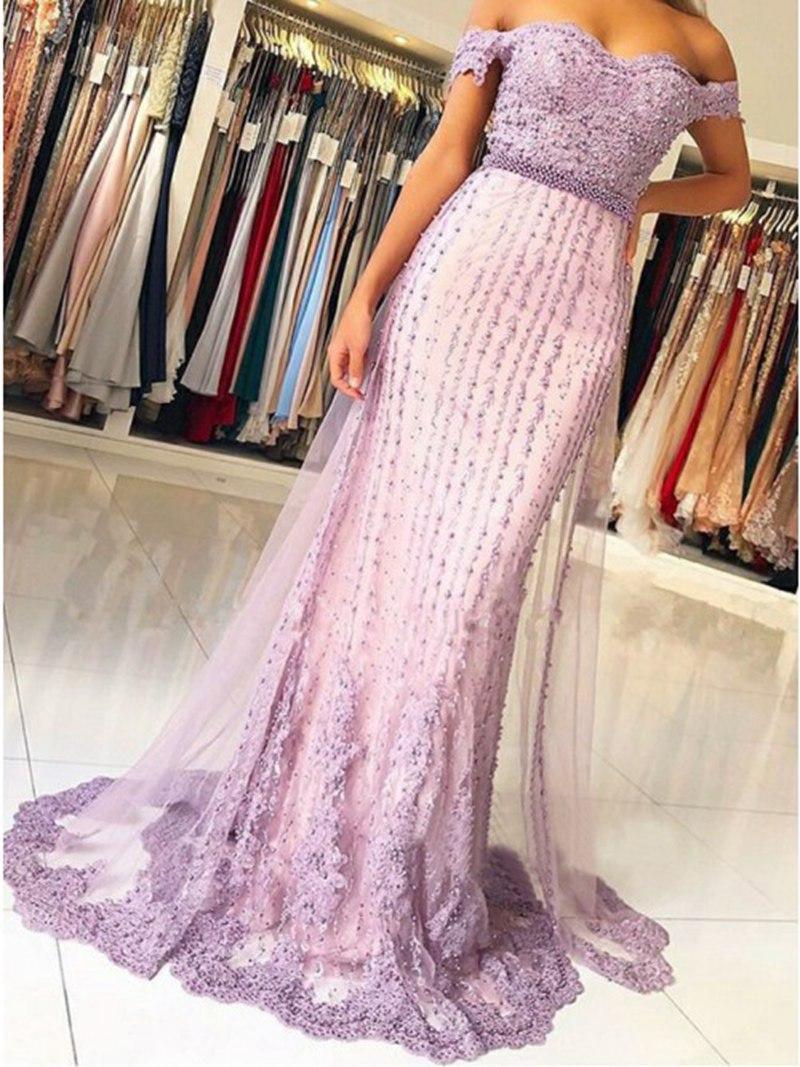 Vestidos De Novia 2020 Новый дизайн Русалка с плеча лаванды платье с бисером аппликации поезд