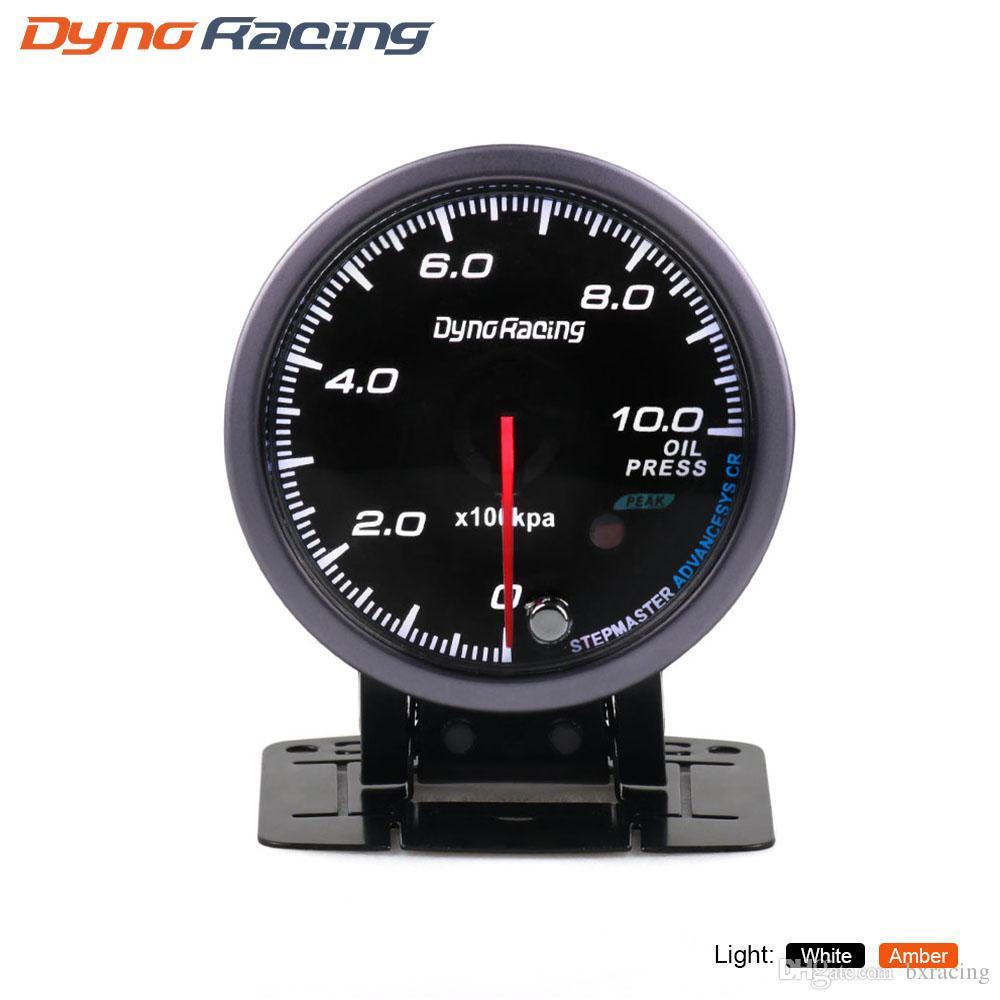 Dynoracing 60MM Black Face Oil pressure gauge Amber/White light 0-10 Bar Oil press gauge with peak Function BX101482
