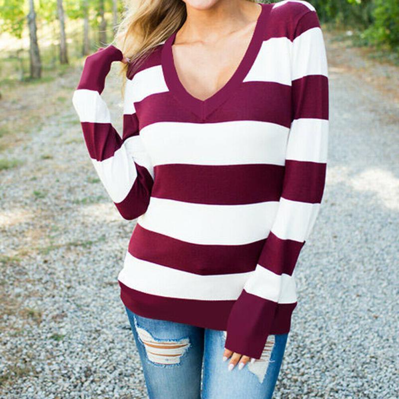 Autunno Stripe Donne Pullover Felpe manica lunga casuale allentata cotone con cappuccio signore Tops Plus Size XL femminile Abbigliamento