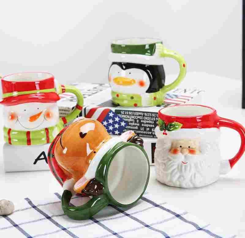3D Santa Claus Muñeco de nieve Tazas de cerámica Tazas de agua Taza de leche de café Drinkware lindo Navidad Muñeco de nieve Ciervos Santa Claus Taza de café Venta caliente