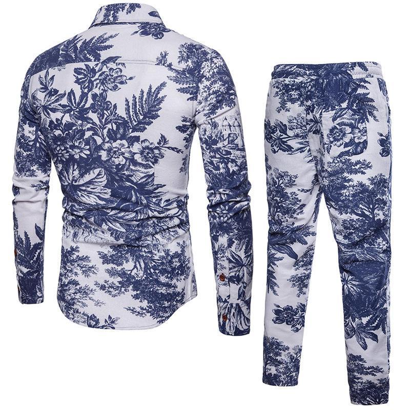 Moda Halk Çiçek Baskılı Eşofman Erkekler Rasgele İki Adet Suit Gömlek İpli Sweatpants Artı boyutu M-5XL Ensemble Homme Setleri