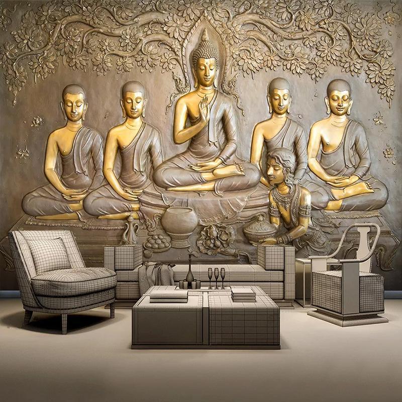 8d Golden Buddha Hotels Restaurant Wallpaper Südostasien Indien Buddha Statue Bodhisattva Thai Style große Mauer Tapete