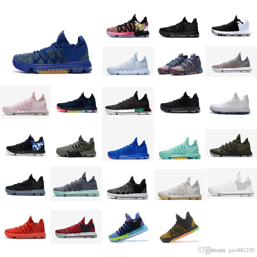 Cheap Mens KD 10 basketball shoes for sale MVP Blue Gold Red Green Black Floral BHM kds Kevin Durant x mid top sneakers boots KD10 with box