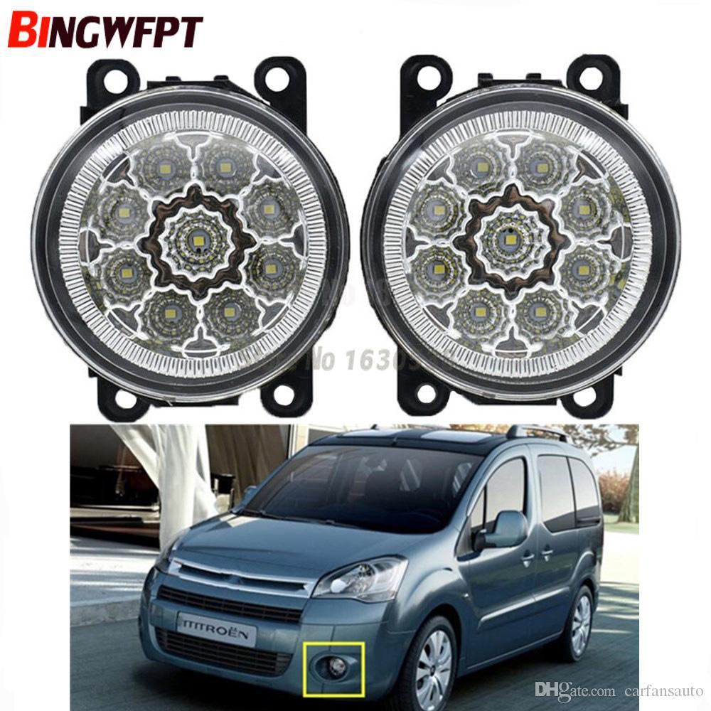 2pcs / pair Nevoeiro Assembléia Lâmpada Super Bright LED nevoeiro 9 peça chips para Citroën Berlingo B9 2012 2013 2014 2015