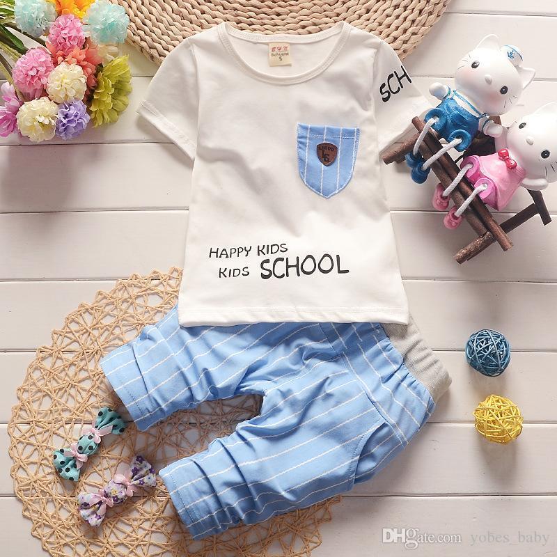 summer fashion baby kids clothes Infant Boys Sportswear Summer Children's Short Sleeve T-Shirt Children's Wear Two-piece Korean Cotton Set