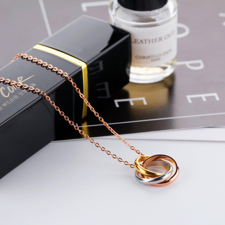 Tres colores de la moda de Nueva Corea del anillo Winding collar de la muchacha colgante del acero inoxidable chapado en oro de 18K Rose Charm tendencia de oro joyería al por mayor