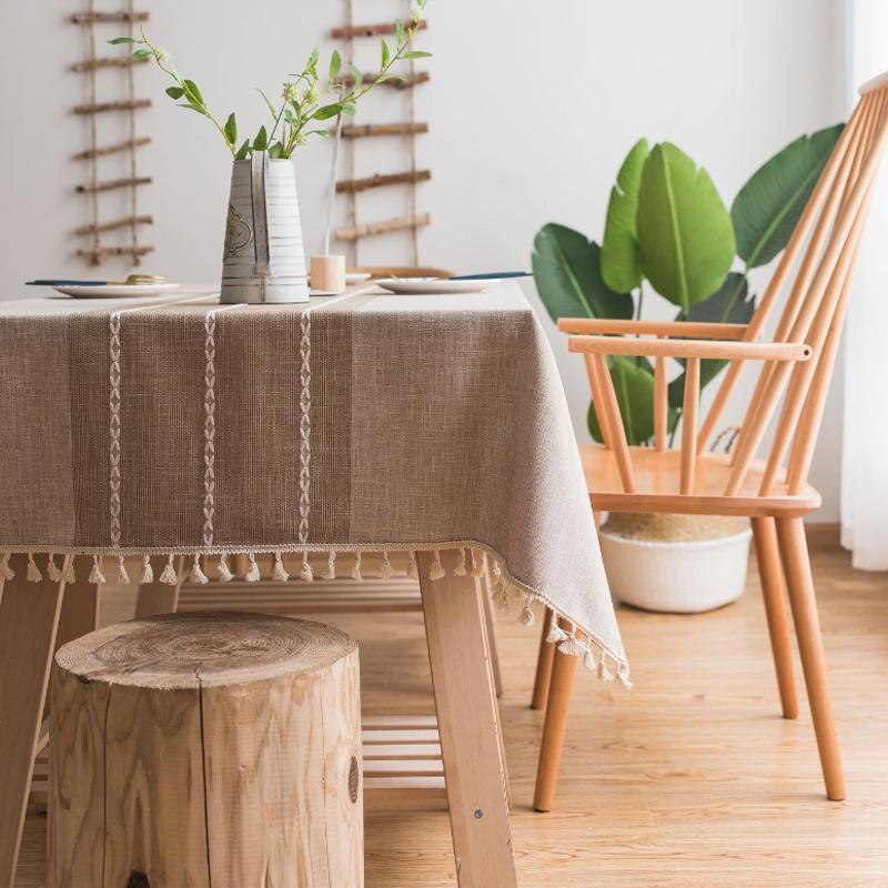 Stripe декоративные льняные, как Скатерть с кисточкой толстой водонепроницаемой Прямоугольная свадьба Обеденный стол Обложка Чайный стол салфетку