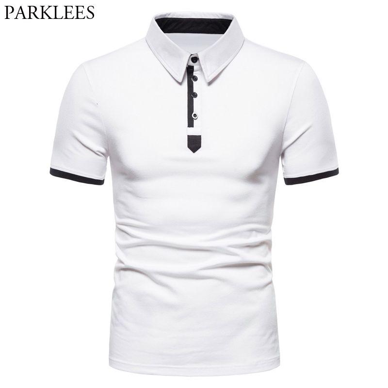 Erkekler Kollu Renk Gömlek Yaka 2020 Kısa Moda Dönüş Pamuk Homme Kontrast Slim Fit Beyaz Aşağı Yaz Camisa Iochl