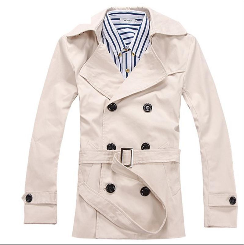 Top-Qualität 2019 Mode Herbst Winter Baumwolle Revers Slim Fit Zweireiher Casual Gentleman Trenchcoat mit Gürtel