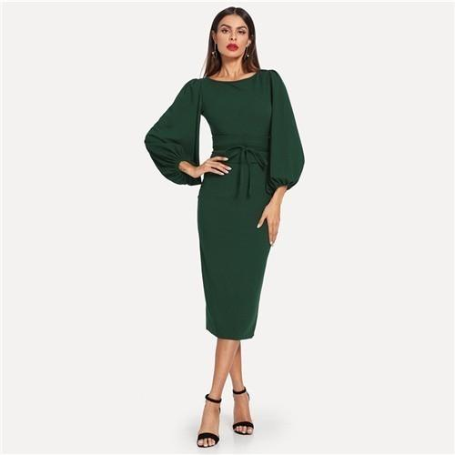 Moda 2019 Green Tie cintura vestido de manga de linterna elegante fiesta cuello vestidos lápiz mujeres cremallera nudo otoño vestido