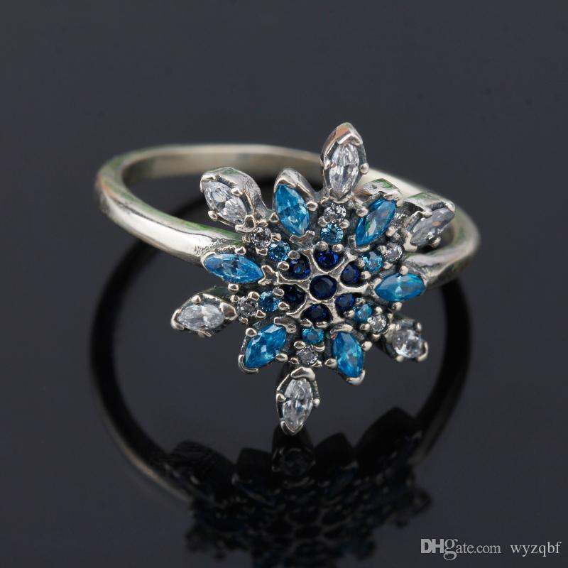 925 Sterling Silver Blue Zircon Snowflake Rings Compatible With Romantic Ring For Pandora Style Women Jewelry Princess Cut Engagement Ring Engagement Rings For Men From Wyzqbf 11 5 Dhgate Com