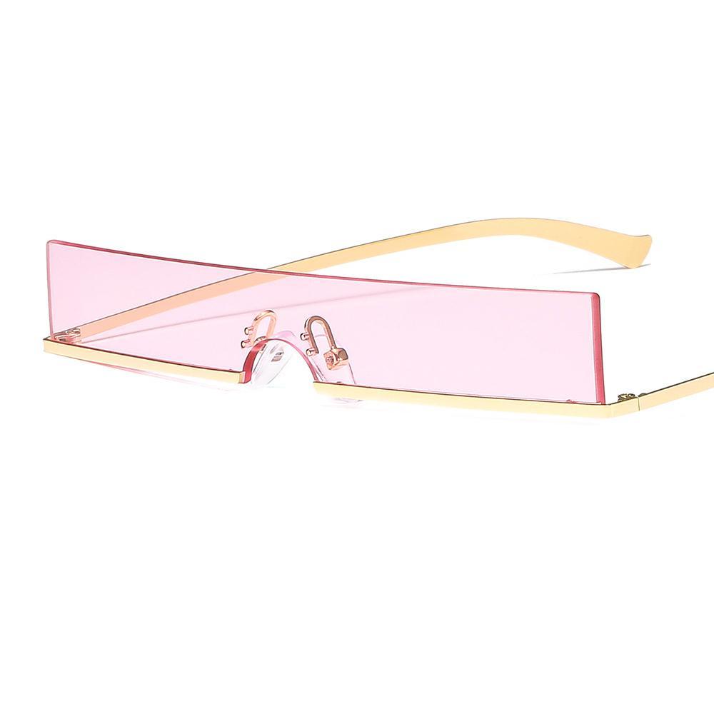 여성 사각 투명 렌즈 안경 무테 프레임 패션 복고풍 거리 UV 400 개 선글라스 안경 2020 여성의 골드 프레임의 명품 선글라스