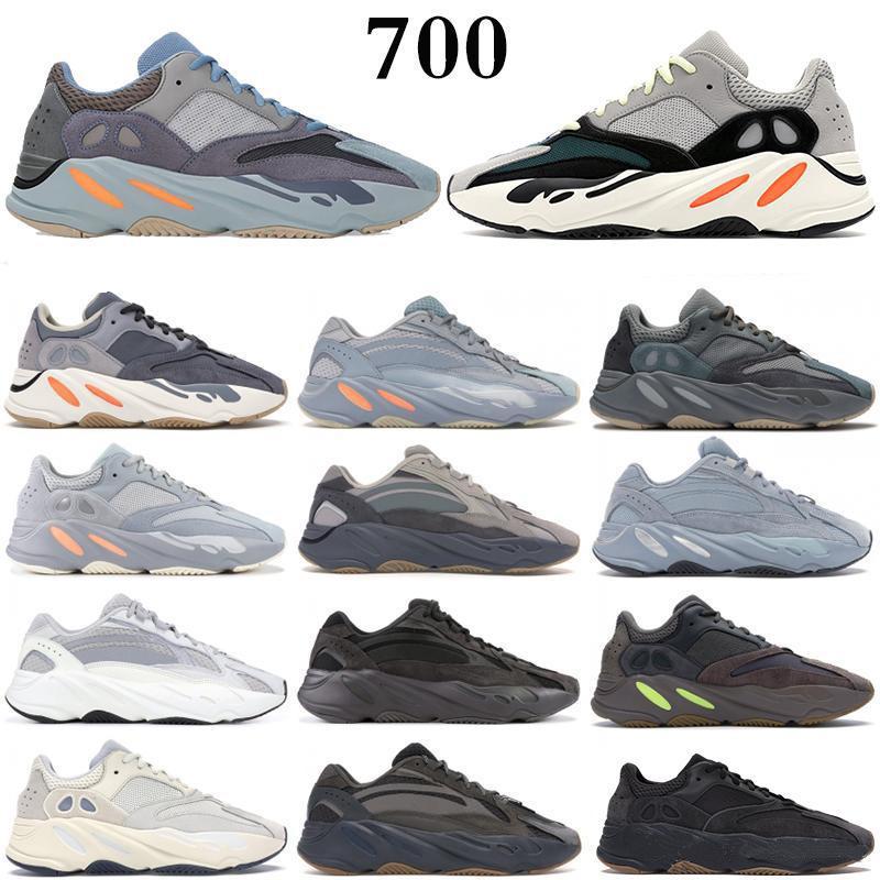 Adidas Kanye west 700 V2 Running shoes Yeezy 700 V2 عظام موجة عداء الرجل المرأة الاحذية أحذية رياضية الصلبة مصمم أحذية رمادي النظير تايل الكربون الأزرق