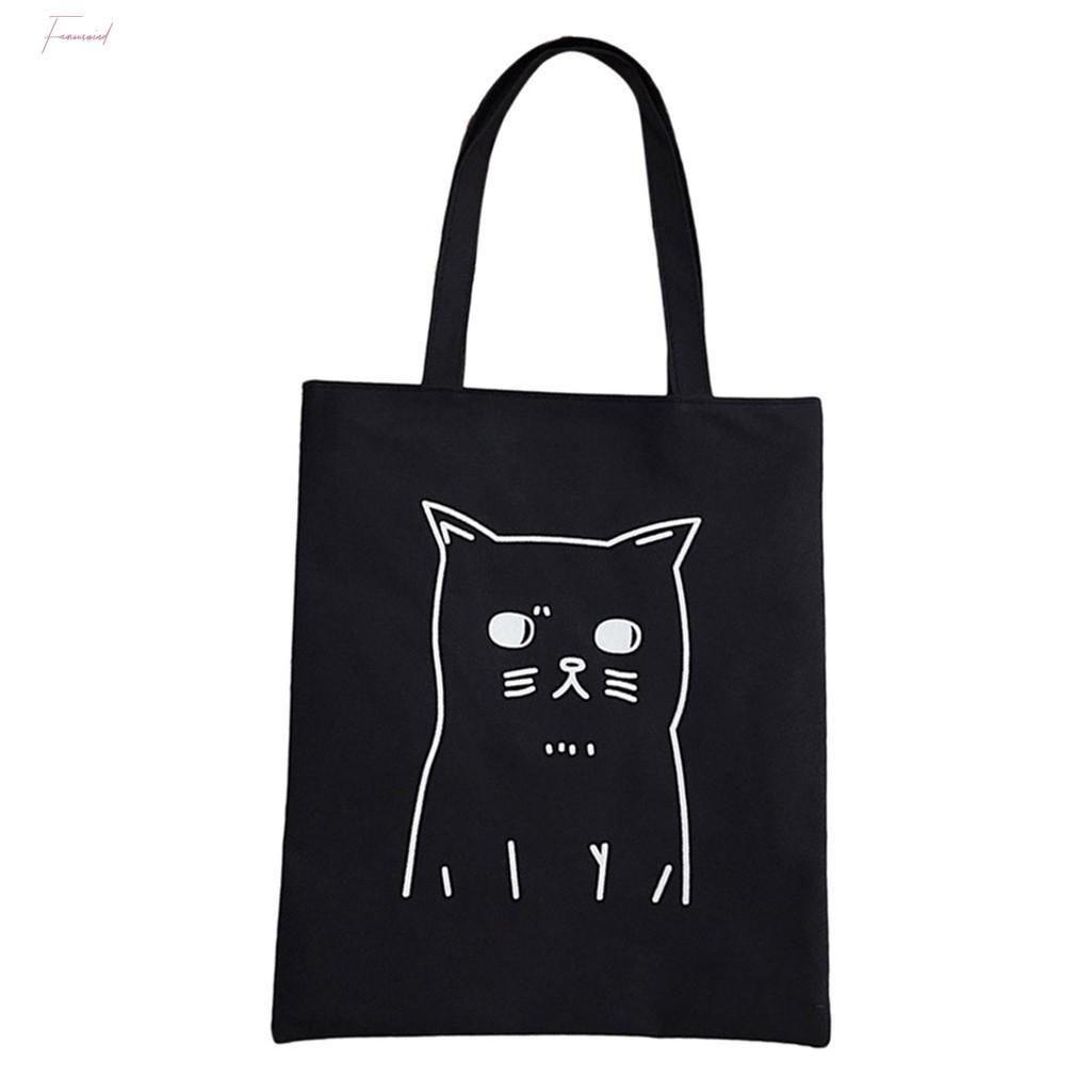 Toile fourre-tout pour les femmes chat de bande dessinée imprimée sacs d'épaule Mignon Sacs de shopping Femme grande capacité Sac à main T10