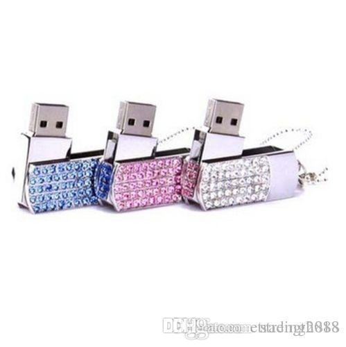 브랜드의 새로운 크리스탈 휴대용 잠금 16기가바이트 USB 플래시 메모리 스틱 플래시 디스크 드라이브