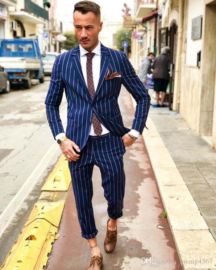 Novo Design Elegante Do Noivo Smoking Dois Botões Listra Azul Entalhe Lapela Groomsmen Melhor Homem Terno Ternos de Casamento Dos Homens (Jacket + Pants + Tie) 788