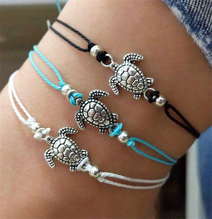 Summer Beach Turtle Shaped Charm Seil String Fußkettchen Für Frauen Knöchel Armband Frau Sandalen Auf dem Bein Kette Fußschmuck B377