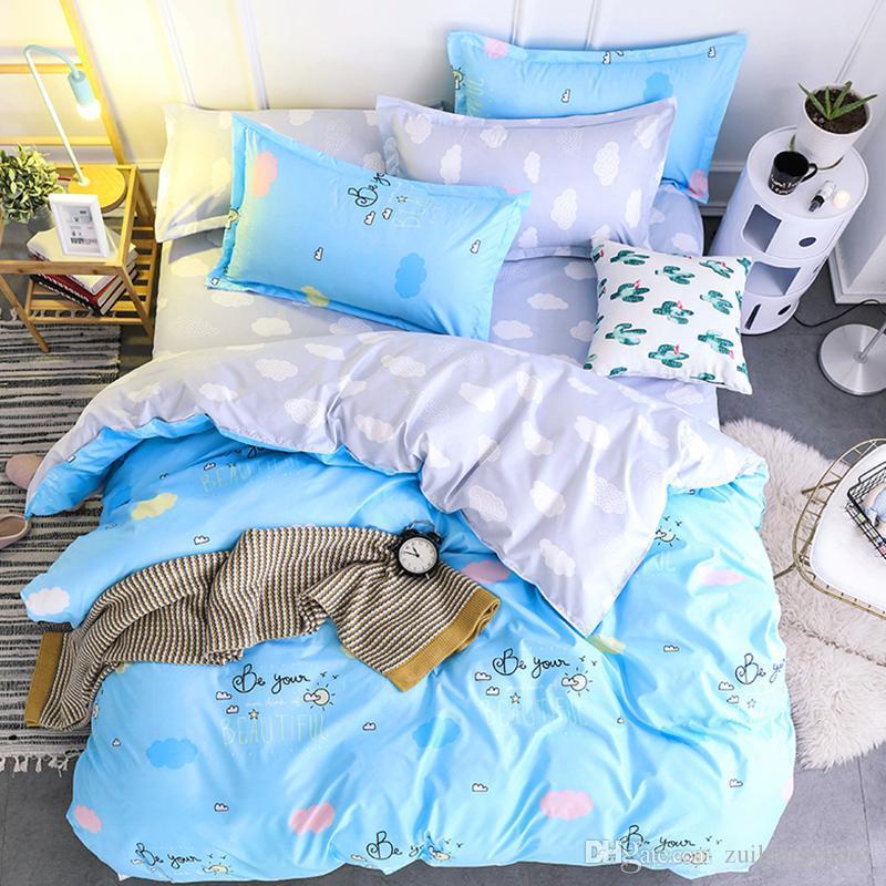 4 piezas de algodón diseñadores 3d reactiva lecho de la impresión Establece cubiertas de cama edredón nórdico cheet funda de almohada Ropa de cama Sábanas