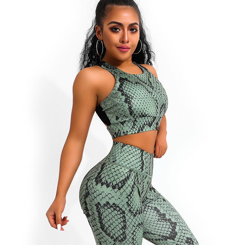 Marchwind Brand Designer Snake Print Yoga Set Mujeres Crisscross Back Sportwear Gimnasio Ropa Fitness Leggings Entrenamiento Sports Traje Mujer