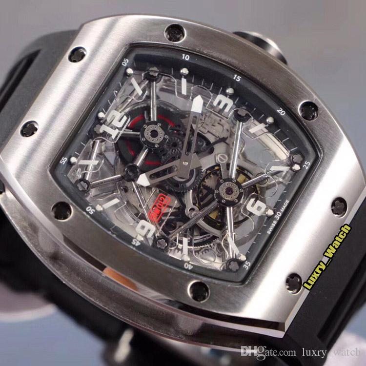 Nueva Luxry RM 012 Esqueleto Dial Japón Miyota mecánico automático RM012 del reloj para hombre de plata caja de acero correa de goma Negro Diseñador Deporte Watche