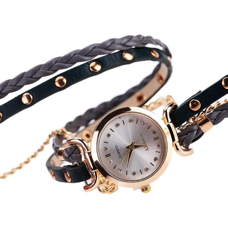 Women's Watch Ladies Diamond Bracelet Watches Student Table Small Twist Rivet Leather Bracelet Table Twine Leather Band Clocks