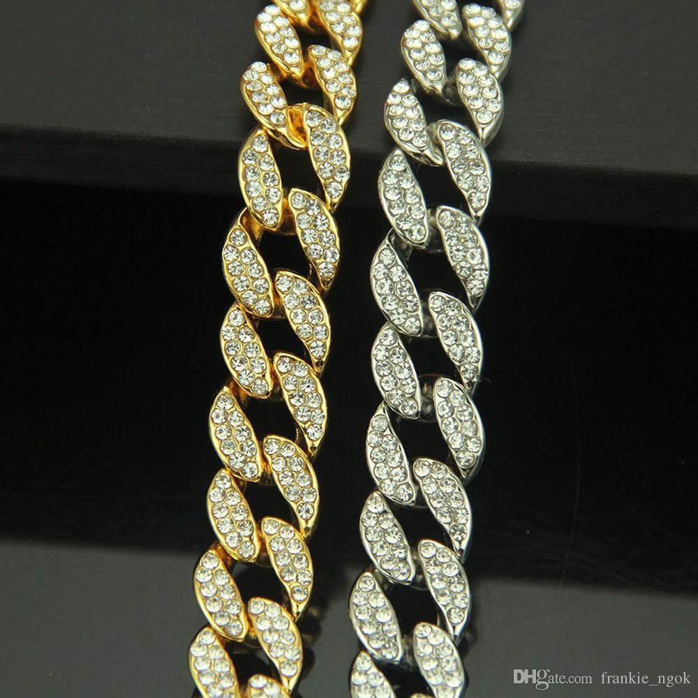 الرجال ميامي الكوبي ربط سلسلة مجوهرات الهيب هوب مجموعات مثلج خارج الكامل مكعب زركونيا قلادة سوار بلينغ بلينغ الاكسسوارات الذهب والفضة