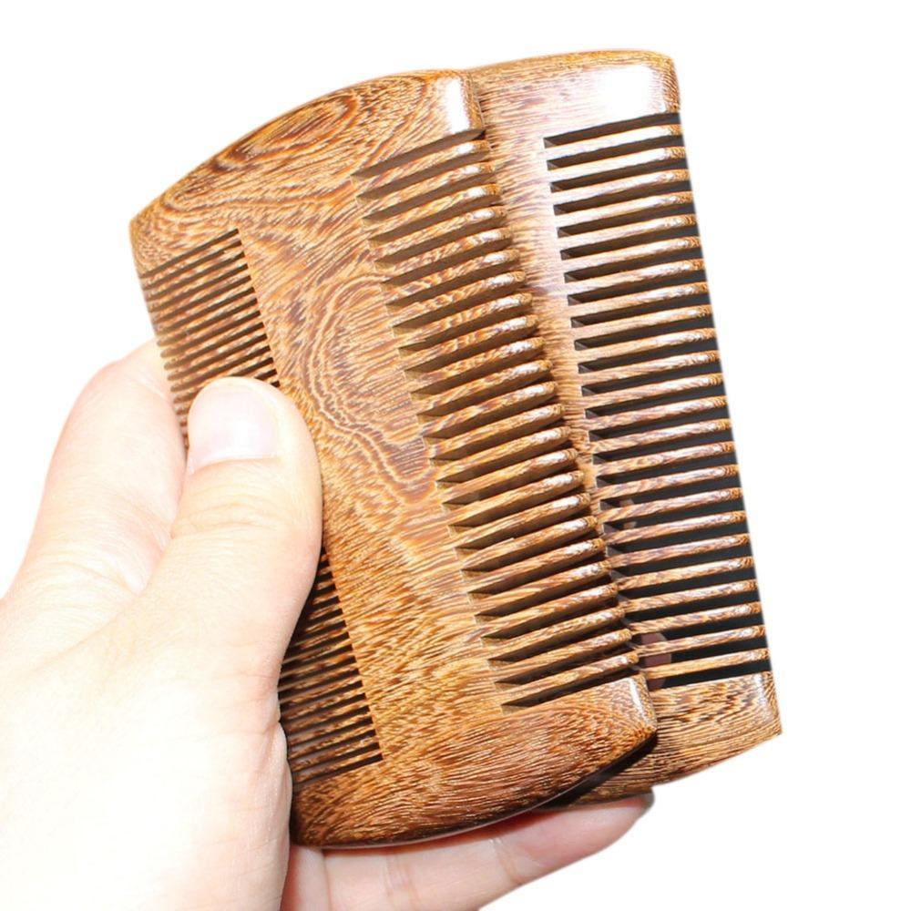 Универсальный Boutique Green сандала Карманный Борода Гребни 2 Размеры ручной работы из натурального дерева расческа с тонкой и широкими зубьями