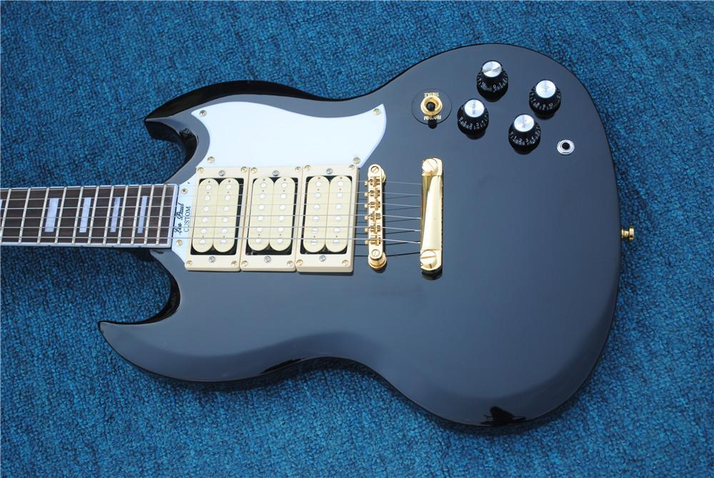 Завод оптового Высокого качества SG черного цвет Rosewood гриф золото аппаратным 6 строки электрическая гитара, свободная перевозка груз